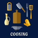 Lebensmittelgeräte und flache Ikonen des Küchengeschirrs Stockbild