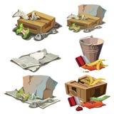 Lebensmittelgeschäft, Papier und anderer Abfall Satz Abfall Lizenzfreie Stockfotos