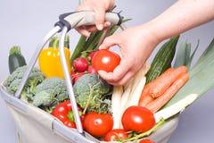 Lebensmittelgeschäftbeutel mit der Hand Stockfoto