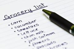 Lebensmittelgeschäftliste Stockbild