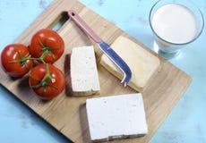 Lebensmittelgruppe der gesunden Diät der Biokost, Molkereifreie Produkte, mit Sojamilch, Tofu, Sojabohnenölkäse und Ziegenkäse Lizenzfreies Stockbild