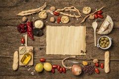 Lebensmittelhintergrundkonzept mit copyspace lizenzfreies stockbild