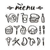 Lebensmittelikonen in der von Hand gezeichneten Art Stockbild