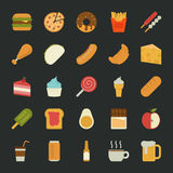 Lebensmittelikonen, flaches Design Lizenzfreies Stockbild