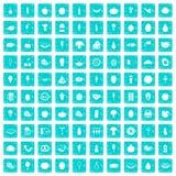 100 Lebensmittelikonen stellten Schmutz blau ein Stockfotos