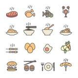 Lebensmittelikonensatz, flache Linie Farbversion, Vektor eps10 Lizenzfreie Stockbilder