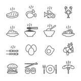 Lebensmittelikonensatz, Linie Version, Vektor eps10 Stockfotos