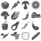 Lebensmittelinhaltsstoff-Ikonen-gesetzter Vektor Lizenzfreies Stockbild
