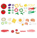 Lebensmittelinhaltsstoffe eingestellt Stockbild