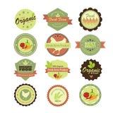 Lebensmittelkennsätze und -elemente Illustration eps10 Stockfoto