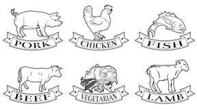 Lebensmittelkennzeichnungen eingestellt Stockfotos