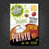 Lebensmittelkennzeichnungsaufkleber stellten bunte Skizzenartfrüchte, Gewürzgemüse-Verpackungsgestaltung ein Kartoffel Gemüseaufk lizenzfreies stockfoto