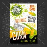 Lebensmittelkennzeichnungsaufkleber stellten bunte Skizzenartfrüchte, Gewürzgemüse-Verpackungsgestaltung ein Mais Gemüseaufkleber lizenzfreies stockfoto