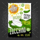 Lebensmittelkennzeichnungsaufkleber stellten bunte Skizzenartfrüchte, Gewürzgemüse-Verpackungsgestaltung ein zucchini Gemüseaufkl stockfoto
