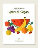 Lebensmittelkonzept des strengen Vegetariers und des Vegetariers mit Früchten Stockbilder