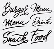 Lebensmittelkunst-Handschriftskalligraphie Stockfoto
