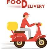 Lebensmittellieferungskonzept Minimale flache Vektorillustration des Kuriers auf Roller oder Motorrad Lizenzfreie Stockfotografie