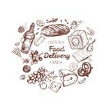 Lebensmittellieferungsrahmen Vektorhand gezeichnet lizenzfreie abbildung