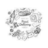 Lebensmittellieferungsrahmen Vektorhand gezeichnete Abbildung lizenzfreie abbildung