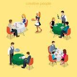 Lebensmittelmahlzeit-Vektors des Restaurantkellners romantisches Abendessen des flachen isometry Stockfoto