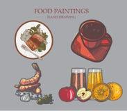 Lebensmittelmalerei und Handzeichnung Der Gebrauch des Posters, Broschüren, Stockfoto