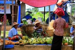 Lebensmittelmarkt in Birma, Myanmar Stockfotografie