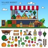 Lebensmittelmarkt im Dorf Stockfoto