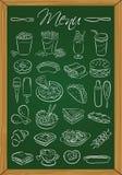Lebensmittelmenü auf der Tafel Stockbild
