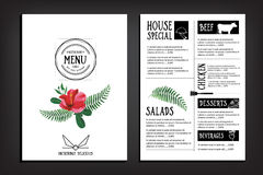 Lebensmittelmenü, Restaurantschablonendesign Fliegercafé Broschüre vint Lizenzfreies Stockfoto
