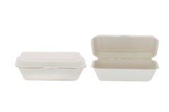 Lebensmittelpapierkasten (geschlossen - offen) lokalisiert auf weißem Hintergrund Stockfotos