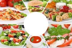Lebensmittelrestaurantmenüsammlungs-Collagenmahlzeit, die Mahlzeiten isst stockfoto