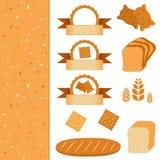 Lebensmittelsatz Ikonen und Aufkleber - Elemente für Bäckerei Vektorsammlung Backen Brothintergrundbeschaffenheit Stockfotografie