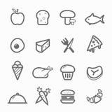 Lebensmittelsymbollinie Ikonensatz Stockfotos