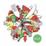 Lebensmittelvektorillustration Stockbild