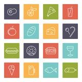 Lebensmittelvektorlinie Ikonen eingestellt stock abbildung