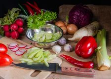 Lebensmittelzubereitung Stockfotos