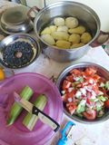 Lebensmittelzubereitung für Geburtstagsfeier Salate und Karotten und Kartoffeln stockbilder