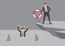 Lebensretter für Geschäftsmann in der Bedrängnis-Vektor-Illustration Lizenzfreies Stockfoto