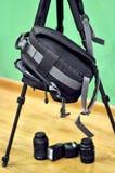 Lebensstil, Foto-Ausrüstung, Rucksack für Kamera Lizenzfreies Stockbild