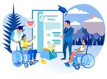 Lebensversicherung für Leute mit Unfähigkeit flach lizenzfreie abbildung