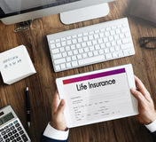 Lebensversicherungs-Form-Anwendungs-Sicherheits-Konzept lizenzfreies stockfoto