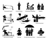 Lebensversicherungs-Schutz-Ikonen-Piktogramm lizenzfreie abbildung