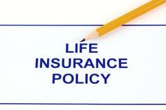 Lebensversicherungspolice Stockbild