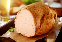 Leberkaese, a German meat loaf Stock Photos