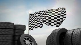 Lebhafte Flagge nahe Rädern vektor abbildung