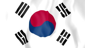 Lebhafte Flagge von Südkorea stock video