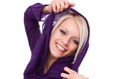 Lebhafte glückliche schöne blonde Frau Lizenzfreies Stockbild