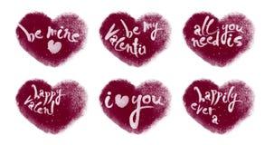 Lebhafte Herzen eingestellt mit dem Valentinsgruß-Beschriften stock video