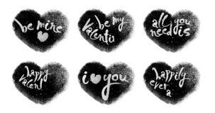 Lebhafte Herzen eingestellt mit den Valentinsgrüßen, die mit Luma-Lech beschriften stock footage