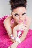 Lebhafte junge Frau im Kleid Stockbilder